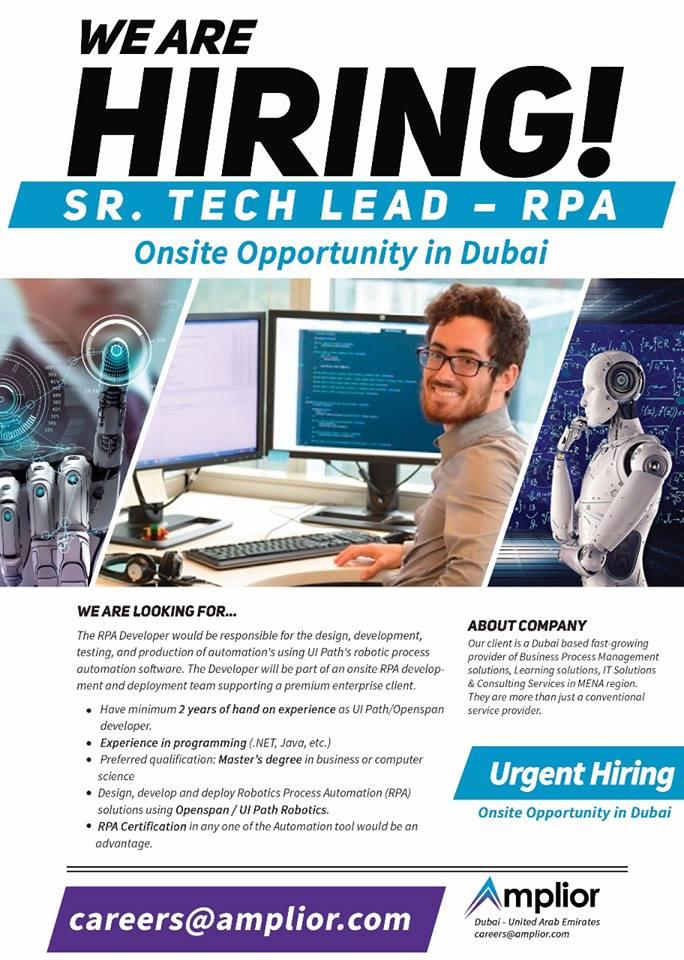 Job Posted :Full Time: Amplior :Senior Tech Lead - RPA