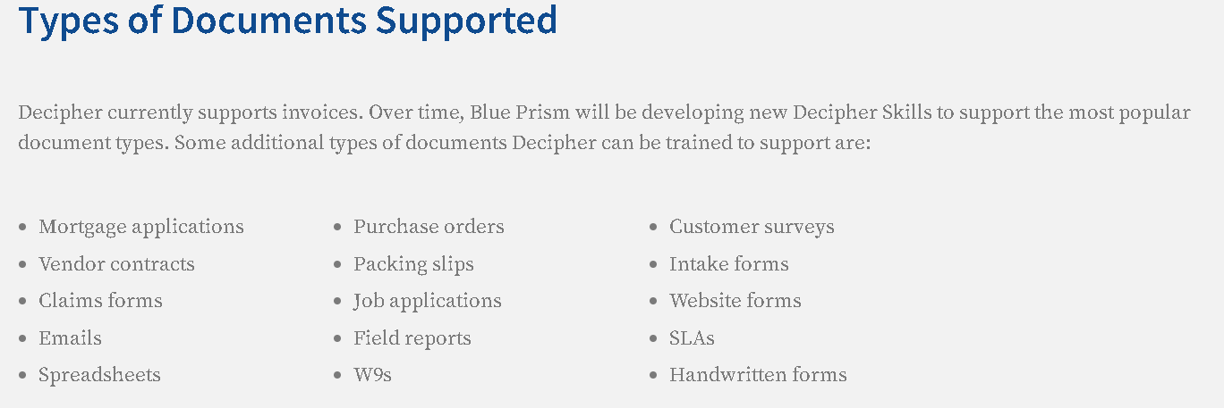 An extract from blueprism.com about capabilities of Blue Prism Decipher